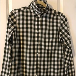 J.Crew moss green and white button down